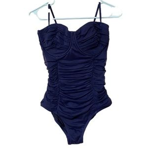 J Crew Tulle Ruched One Piece Swimsuit D Cup Sz 8